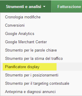 Pianificatore Display - Google Adwords